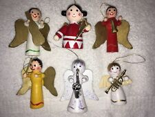 6 Vintage WOODEN Angels CHRISTMAS TREE ORNAMENTS Musical Instruments Horns