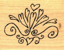 PSX ~ HEART FLOURISH ~ Wood Mounted Rubber Stamps Love Valentines Day
