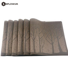 Set of 6 Place Mat PVC Non Slip Washable Dining Table Placemats Tree Theme Brown