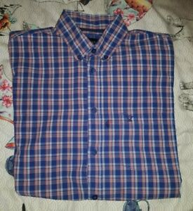 """Pringle Checked Shirt Blue Red short sleeved Large 42"""" chest"""
