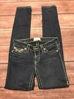 Big Star Skinny Jeans Womens Sz 25R Dark Wash Stretch Embroidered