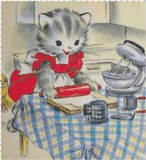 Kitty in the Kitchen Retro Golden Book Cross-Stitch Pattern
