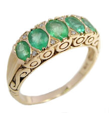 R507 Genuine 9K 9ct Gold Natural Emerald & Diamond Eternity Ring in yr size