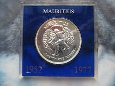Mauritius 1952 - 1977 QE II Silver Jubilee silver Crown 25 Rupees Coin cased