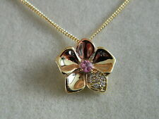 Clogau 9ct Welsh Gold Pink Sapphire & Diamond Orchid Pendant RRP £600.00