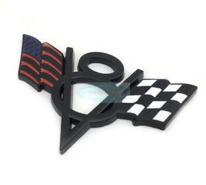 Black V8 American US USA Flag Chrome Metal Front Emblem Badge For Dodge Ram New