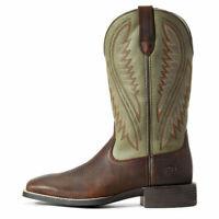 Bottes western cowboy occidentales en cuir faites main brun / vert olive