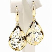 DROP EARRINGS YELLOW GOLD 750 18K, DROPS UNDULATED, FLOWERS WORKED