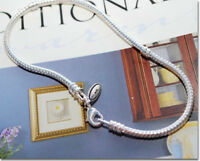 9 INCH EUROPEAN CHARM SNAKE CHAIN BRACELET FOR BEAD .925 SILVER LOBSTER CLASP L9