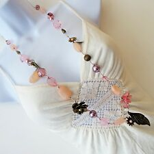 """NWT NEW LOOK LONG Mixed Pink Bead String Necklace 86.5 cm 34 """" ~ UK [1034]"""
