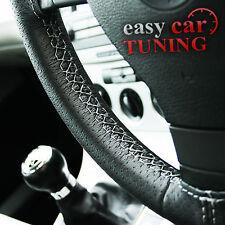Para Peugeot 307 Negro de cuero genuino real perforado cubierta del volante gris