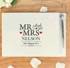 Personalised Mr And Mrs Guest Book & Pen Set Wedding Engagement Gift Present