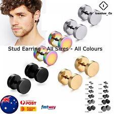 Flat Round Earring Stud Unisex Plugs Stainless Steel Mens Ear Studs Piercing AUS