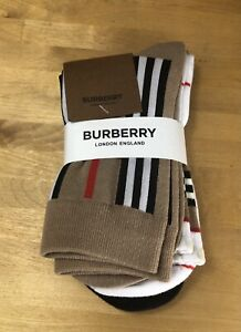 Set of 3 Pairs of Men's Burberry Socks NEW - Icon Stripe Pack - Stain SEE PICS
