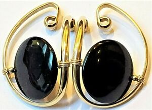 Barbara Barnett's 14K GF Onyx Button Hooker Earrings, BB Ear Cuffs, Hoops Hugs
