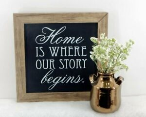 "HOME IS WHERE OUR STORY BEGINS 12"" X 12"" CHALKBOARD WALL SIGN NEW FREE SHIPPING"