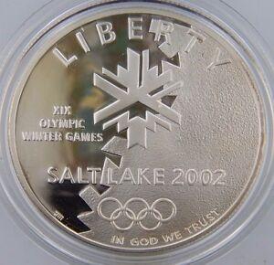 2002-P Proof Olympic Winter Games Commemorative Silver Dollar w/Box & CoA