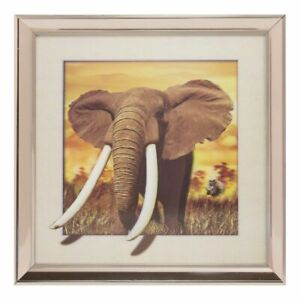 3D wild Elephant picture print in the Metallic effect frame UK SELLER