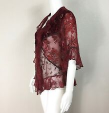 SPENCER ALEXIS - GORGEOUS! LACE BURGUNDY RED RUFFLE BLOUSE TOP - SIZE PL - NTSF
