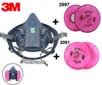 3M 7502 Half Facepiece Respirator Gas Dust Protect Mask &2091 &2097 P100 Filters