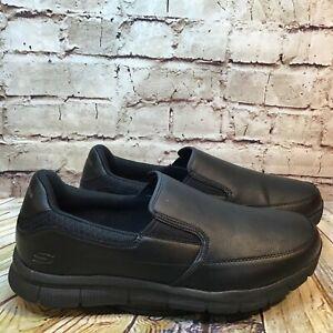 Skechers Work Mens Black Slip On Slip Resistant Hospitality Loafers Size 13