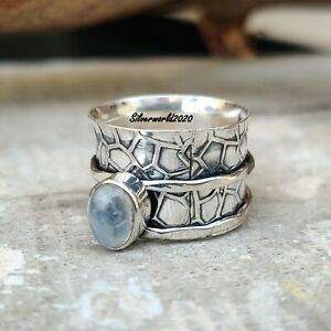 Moonstone Spinner Ring 925 Sterling Silver Plated Handmade Ring Size 7.5 mt127