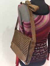 Handmade Leather Beige Tan Designer Hippie Boho Retro Look Handbag Shoulder Bag