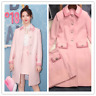 Occident Womens Suits Pink Wool Midi Coat A-line Skirt Parka 2pcs Outwear Muk15