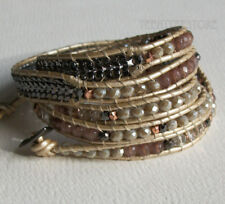 Nakamol 5 Wrap up Crystal, Agate, Metal Beads, Chain, Baige Leather Bracelet NEW