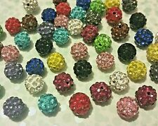 50 Crystal Rhinestone Pave Shamballa Beads 10mm Assorted Color Spacer Charm Bead