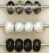 "(12x) Rhona Sutton ""Amber, Pearl & Smoky Quartz"" Sterling Silver Charm Beads"