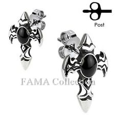 Unique FAMA Stainless Steel Winged Cross with Onyx Stone Stud Earrings