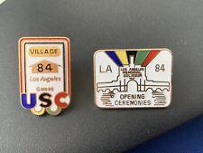 2x Rare Olympic Pin Badges LA 1984 Los Angeles Opening Ceremony Athletes Village