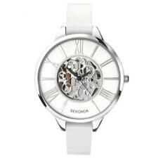 Sekonda Ladies Skeleton Dial White Leather Strap Watch - Model 2312