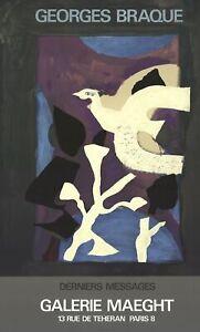 GEORGES BRAQUE Affiche #102 27.5 x 16.75 Lithograph 1967 Cubism Purple, White, B
