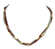 LABRADORIT / GRANAT 3-reihige Kette Collier 48cm / LABRADORITE Necklace V549