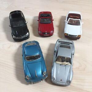 Job Lot 5X Die Cast Car Models 1/24 scale Burago Majorette Porsche Mercedes