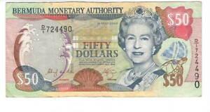 BERMUDA $50 Dollars VF+ Queen Elizabeth II Banknote (2000) P-54a Prefix D/1