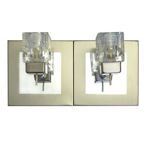 Double Twin 2 Way Satin Chrome Glass Cube Wall Light Fixture G9 LED Fitting