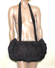 Norma Kamali vintage oversize black lace ruffle shoulder bag with lucite clasp