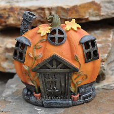 Miniature Fairy Garden Moonlit Pumpkin House with LED Lights