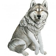 Sandicast Ls904 Life Size Large Wolf Gray (sitting) Sculpture/Statue