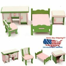 Doll House Miniature Bedroom Furniture Set Wooden Role Play Game Kids Gift Toys