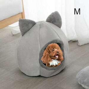 Round Deep Sleep Cat Cave Bed Nest Kennel Plush Puppy Mat Pet Kitten Dog Cushion