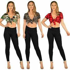 Womens Ladies Short Sleeve CAMOUFLAGE Leopard Print Tie UP Knot Crop Top Shirt