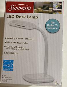 Sunbeam LED Desk Lamp, White, 3 Brightness Levels, 4000K