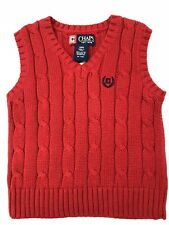 Chaps Classic Red Cable Sweater Vest-Toddler Infants Size 18 M Boys 100% Cotton