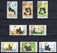 Animaux Pandas Mongolie (68) série complète 8 timbres oblitérés