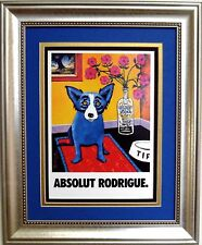 "ABSOLUT VODKA / BLUE DOG PRINT AD by GEORGE RODRIGUE - FRAMED - 14"" x 17"""