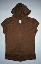 Old Navy Womens/Juniors Stretchy Metallic Brown Hoodie Top Zip front  Size: M